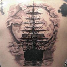 Last nights ship tattoo #tattoo #shiptattoo #pirateshiptattoo #inkstagram
