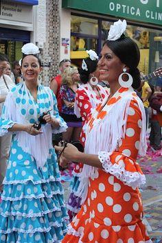 Flamenco dancers in colorful dress!