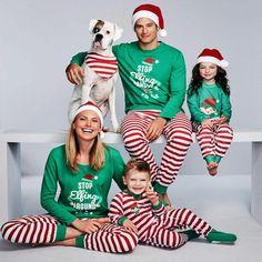 c211520e93 Matching Family Christmas Pajamas STOP Elfing AROUND Matching Christmas  Outfits Christmas Father Son Mother Daughter Pajamas