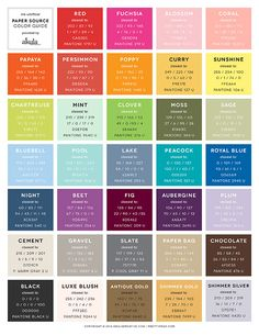 Unofficial Paper Source Color Guide // Conversions for Pantone, CMYK, RGB, and…