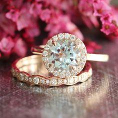 Rose Gold Aquamarine Wedding Set Diamond Halo Engagement Ring and Scalloped Diamond Wedding Band in 14k Gold 8mm Gemstone Ring Bridal Set