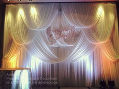 fabric wedding backdrop by Amore props Nonthaburi ,Thailand Wedding Draping, Wedding Fabric, Fabric Backdrop Wedding, Wedding Stage Decorations, Backdrop Decorations, Pipe And Drape, Colorful Curtains, Ceremony Backdrop, Backdrops For Parties