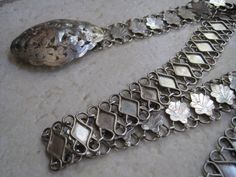 Antique Asian Solid Silver Belt from Borneo Hallmarked by Anteeka