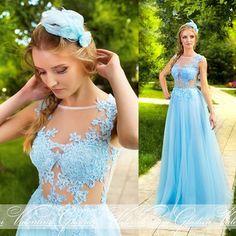 Vestido De Festa Blue Sexy Prom Dress 2015 Lace Formal Fashionable Long Party Evening Gown A Line E6494
