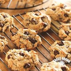 Chocolate Chip Treasure Cookies from Eagle Brand®  Sweetened Condensed Milk are made with graham cracker crumbs, coconut, and chocolate chips. These just might be the perfect grab-and-go snack.