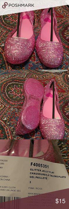 New little girl pink glitter flats never worn Glitter jelly flats Avon Shoes Dress Shoes
