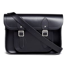 """Cambridge Satchel 11"""" detachable strap leather satchel ($220) ❤ liked on Polyvore featuring bags, handbags, black, satchel style purse, handbag satchel, satchel style handbag, genuine leather purse and leather bags"""