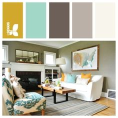 Loving this concept...Darker yellow for the inside and outside of the front door. Grey/neutral base with teal and yellow accents for decor. I'd like the lighter grey paint to bleed into a dark grey accent wall in the dining room, and then have the turquoise paint flow from there into the kitchen. Definitely white ceilings to open everything up.