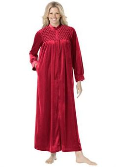 54d8aa1f43 Smocked velour zip-front robe by Only Necessities®