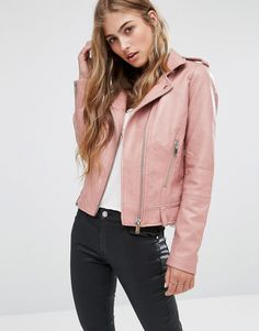 Image 1 of Mango Leather Look Biker Jacket