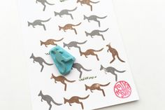small kangaroo stamp, jumping kangaroo hand carved rubber stamp, australian animal slhouette stamp, birthday card making, holiday craft by talktothesun on Etsy https://www.etsy.com/listing/478069769/small-kangaroo-stamp-jumping-kangaroo