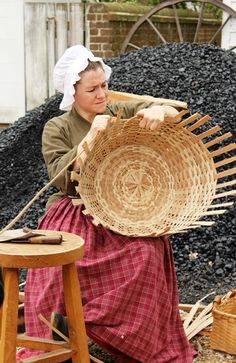 Basketmaking was a domestic activity rather than a business, as families needed baskets of all sizes and shapes for personal family use, and most families made their own baskets – which lasted many years. #ColonialWilliamsburg #basket #weaving #trade #history