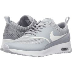 Nike Air Max Thea (Matte Silver/Summit White) Women's Shoes ($76) ❤ liked on Polyvore featuring shoes, athletic shoes, grey, traction shoes, perforated shoes, nike athletic shoes, grey shoes and lightweight shoes