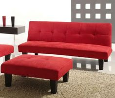 Red Microfiber With Adjule Back Klik Klak Sofa Futon Bed