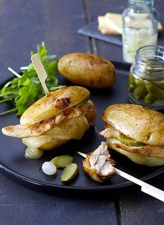 recette_visuel Comfort Food, Root Vegetables, Salmon Burgers, Onion, Chicken, Hui, Ethnic Recipes, Blog, Baked Potatoes