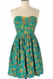 Spring Concert Strapless Floral Print Sweetheart Skater Dress in Teal #dress #dresses #womenclothing #cute