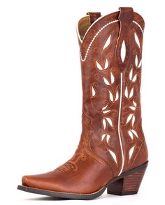 Classic brown cowboy boots with a hint of white create an elegant look for all occasions! | http://www.countryoutfitter.com/products/28187-womens-sonora-boot-bitterwater-brown #cowgirlboots