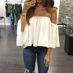 Sexy Off Shoulder Long Sleeve Chiffon Loose Blouse - Oh Yours Fashion - 1