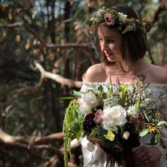 Wild and romantic floral design for a woodland wedding. Forest inspired flower crown and wedding bouquet in a moody palette. Burgundy dahlias, white peonies, champagne roses. #sydneywedding #sydneyweddingflowers #sydneyfloraldesign #Sydneyflorist