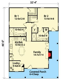 1158 sq/ft Two Bedroom Bungalow - floor plan - Main Level Small House Floor Plans, Cottage Floor Plans, Cottage House Plans, Cottage Homes, Small Cottages, Cabins And Cottages, Up House, Tiny House Living, 2 Bedroom House Plans