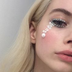 Elegant tears #makeup #pearls #eyes