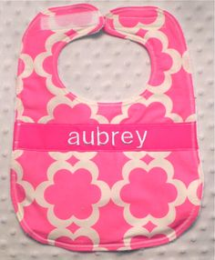 Personalized Bib - Baby Girl Bright Pink Flowers. $10.00, via Etsy.