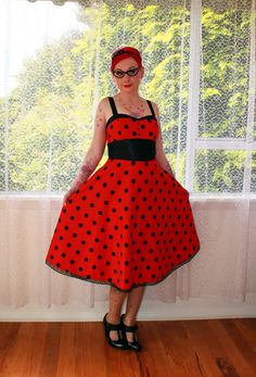 Pin Up Red  Dress with Black Polka Dots, Sweetheart Neckline and Black Trim 'Ladybird'  - Custom made to fit by PixiePocket on Etsy https://www.etsy.com/listing/115199764/pin-up-red-dress-with-black-polka-dots