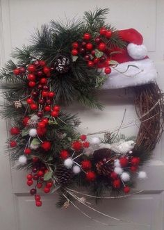 Beautiful Red and White Santa Hat Christmas Holiday Grapevine Wreath for Door