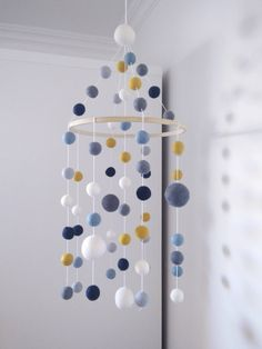 Nursery mobile/shades of blue and grey/yellow mustard white/baby mobile/crib mobile/felt balls mobile/scandinavian/modern/kidroom/pompom - marie - Yellow Nursery, Grey Yellow, Blue Crib, Scandinavian Modern, Skandinavisch Modern, Baby Mobile, Mobile Kids, Mobile Craft, Seashell Crafts