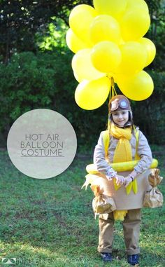 This super-easy version of the hot air balloon costume doesn't require basket cutting, balloon nets, or special trips to the party store. Easy Homemade Halloween Costumes, Hot Halloween Costumes, Diy Costumes, Halloween Fun, Costume Ideas, Pink Bridesmaid Dresses Uk, Diy Hot Air Balloons, Fun Crafts To Do, Prison Break