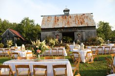 Loved the look created by placing all of the seating on the lawn of the barn. Farm Wedding, Wedding Reception, Wedding Ideas, Farm Images, Table Settings, Barn, Table Decorations, Southern, Marriage Reception