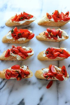 Crostini with whipped feta and tomatoes - Green Valley Kitchen