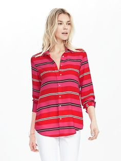 Banana Republic Dillon-Fit Multi-Stripe Blouse - love these colors together !