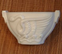 Ivory Swan Bowl Art Deco 1930's SwanSong Flower Open Bowl McBeth-Evans Milk Glass by MarveltyVintage on Etsy