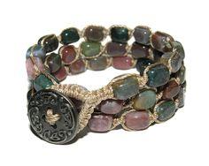Fancy Jasper Gemstone, Nugget, Macrame, Triple Wrap Bracelet, Double Wrap Anklet, or Single Chain Necklace. $35.99, via Etsy.