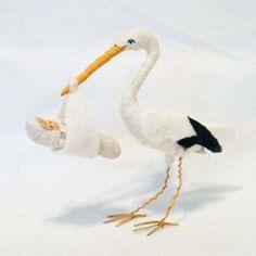 Spun Cotton Stork and Baby