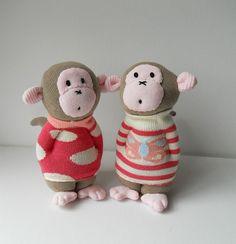 pair of baby sock monkeys by Treacher Creatures, via Flickr