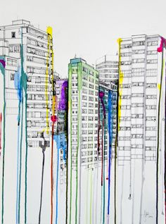 unknown artist. its appeared similar to what direction I hoped to go with my art book but it appears that the person used acrylic instead of watercolours. Its also based on buildings with the colour dripping off them.