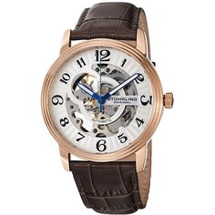 This masculine watch from Stuhrling features a stainless steel caseand a black crocodile embossed leather strap. Oracle Of Delphi, Othello, Crocodile, Chronograph, Display, Boutique, The Originals, Classic, Silver