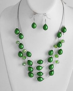 Rhodiumized / Green Synthetic Pearl / Peridot Glass Crystal / Lead Compliant / Multi Row / Necklace & Fish Hook Earring Set