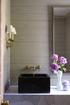 black paneled bathroom - Google Search