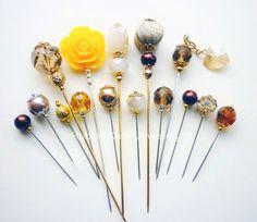 15 Yellow Smokey Topaz Brown Gold and Cream Hijab by RubinaKadir, Cute Jewelry, Unique Jewelry, Hijab Pins, Smokey Topaz, Stick Pins, Lapel Pins, Hair Accessories, Brooch, Hat
