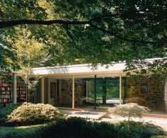 Mid century modern architecture - Hooper House (1959) by Marcel Breuer. In 1959 Marcel Breuer created a spectacularly long, low house of Maryland fieldstone in a wooded sanctuary outside of Baltimore.