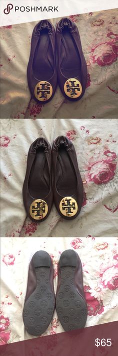 Tori Burch Reva flats Rare chocolate brown color...  Great wearable condition! Super comfy! Tori Burch Shoes Flats & Loafers