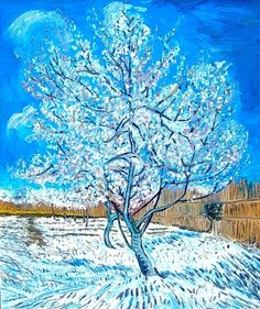 van gogh tree I like how he has highlighted the tree with the white leaves.