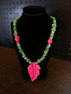 Green & Pink Magnesite Leaf Necklace by SassyThreadz on Etsy, $30.00