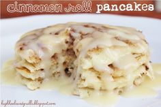 Cinnamon Roll Pancakes...cinnamon filling and cream cheese glaze