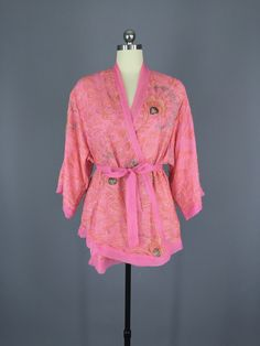 Silk Kimono Jacket / Vintage Indian Sari / Pink Beaded Sequined Kimono #vintagesari #sari #sarikimono #kimono #kimonocardigan #kimonojacket #loungewear #indiansari #indiancollection #wedding #beltedjacket #beltedcardigan #cardi #silk #silksari #silk