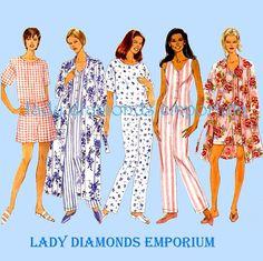 Items similar to Butterick 5017 Women Sleepwear Oversized Robe Top Pajamas  Pants Shorts size 6 8 10 12 14 Bust 30 31 32 34 36 Vintage Sewing Pattern  Uncut ... bf1adad0f