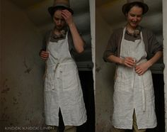OLD FARMHOUSE collection. Handmade Linen Apron From Striped Linen
